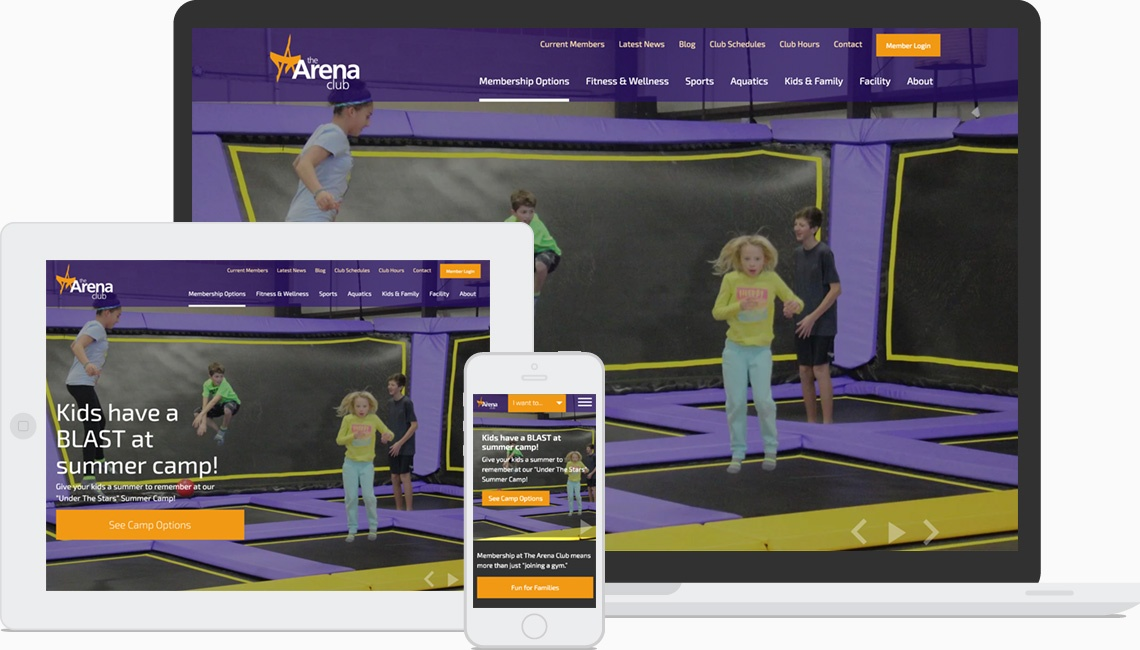 The Arena Club Website on various devices.
