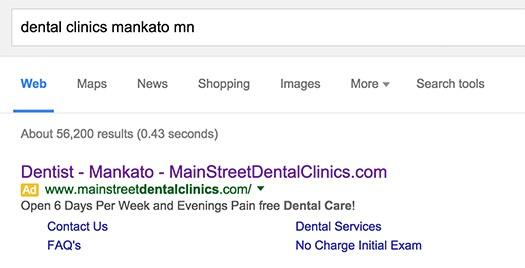 Main Street Dental Clinics Google Ad