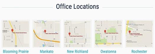 Main Street Dental Clinics Locations on Homepage