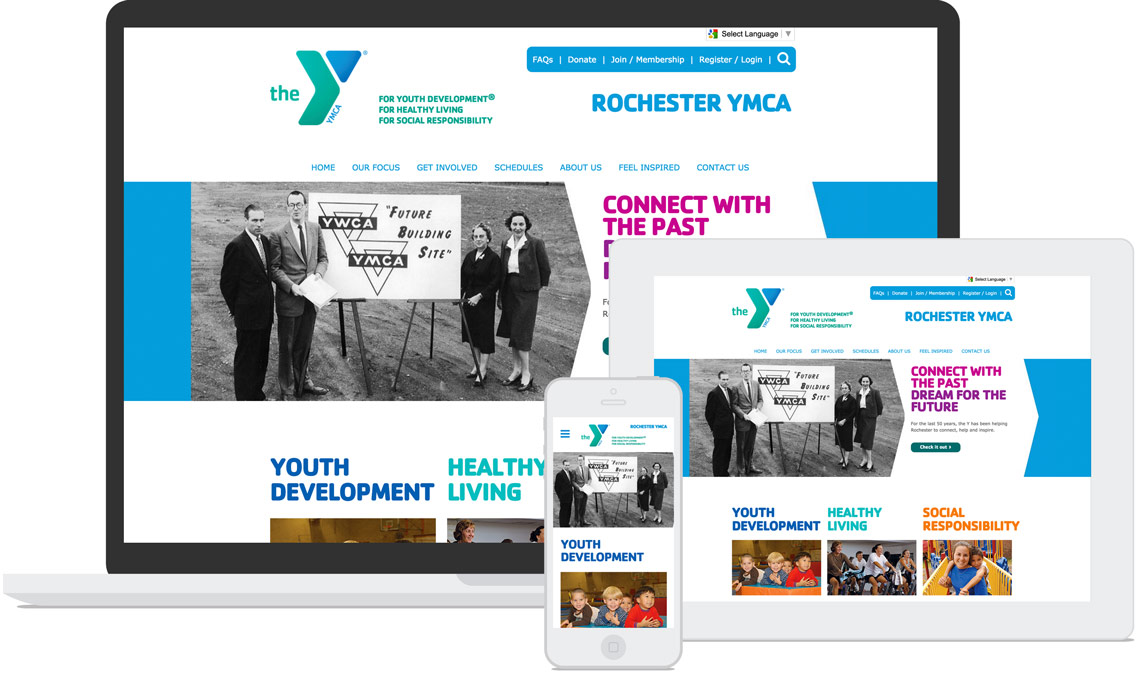 Rochester Area Family YMCA layout on multiple devices.
